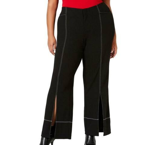 INC Womens Pants Black White Size 22W Plus Split Wide Leg Stretch