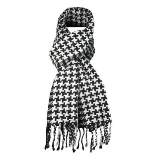Charter Club Women's Houndstooth Striped Cashmere Scarf - os