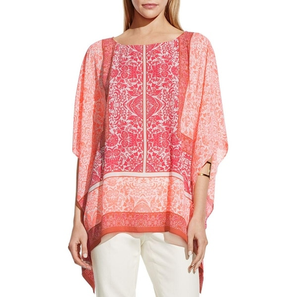 Vince Camuto Womens Poncho Top Georgette Printed