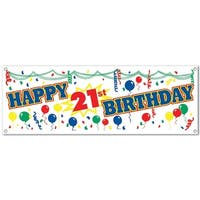 """Club Pack of 12 Fun and Festive Happy 21st Birthday Sign Banner 60"""" - Blue"""