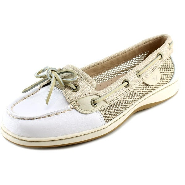 Sperry Top Sider Angelfish Women Moc Toe Leather White Boat Shoe