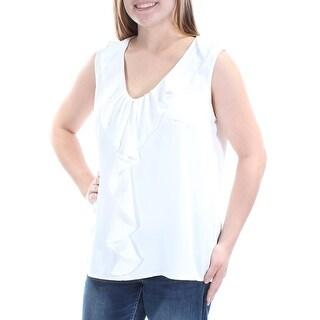 NINE WEST $59 Womens New 1363 White Ruffled Sleeveless V Neck Casual Top L B+B