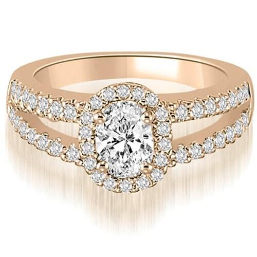 0.95 cttw. 14K Rose Gold Halo Split-Shank Oval & Round Diamond Engagement Ring