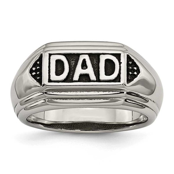 Chisel Stainless Steel Black Enamel Dad Ring (5 mm)