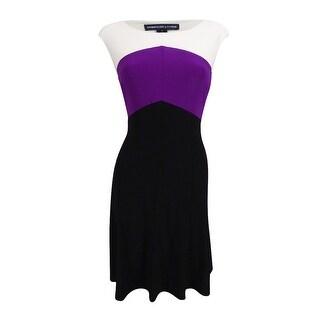 American Living Women's Colorblocked Jersey Dress (6, Black/Berry/Cream) - black/berry/cream - 6