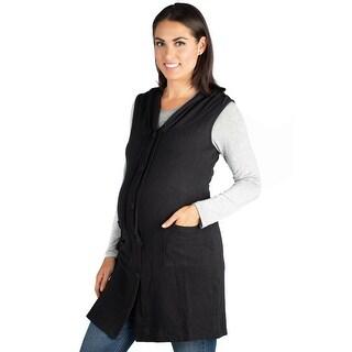24seven Comfort Apparel Sleeveless Maternity Cardigan Hoodie