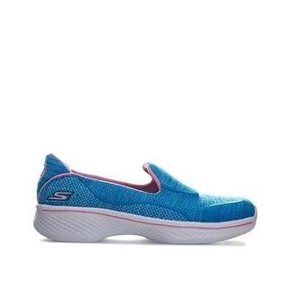 New Girls Youth Skechers 81136 GOwalk 4 Speedy Sports Slip On Blue//Pink D51