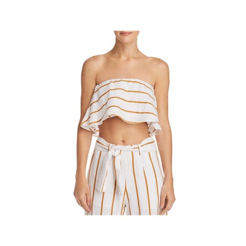 Faithfull the Brand Womens Solana Crop Top Linen Strapless - Thomsen Stripe/Toffee - 4