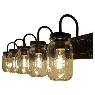 5-Light Mason Jar Vanity Fixture with Glass Shade