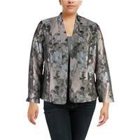 Kasper Womens Plus Open-Front Blazer Floral Work Wear