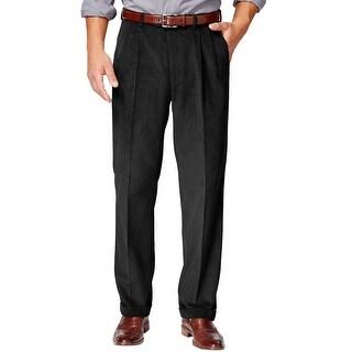 Geoffrey Beene Double Pleated Front Corduroy Pants Black 32 x 30