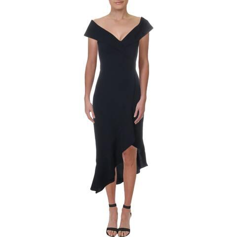 Xscape Womens Midi Dress Off-The-Shoulder Flounce - Navy