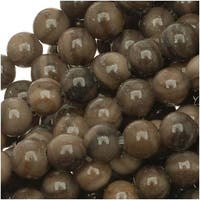 Natural Brown And Gray Striped Agate 4mm Round Beads /15.5 Inch Strand