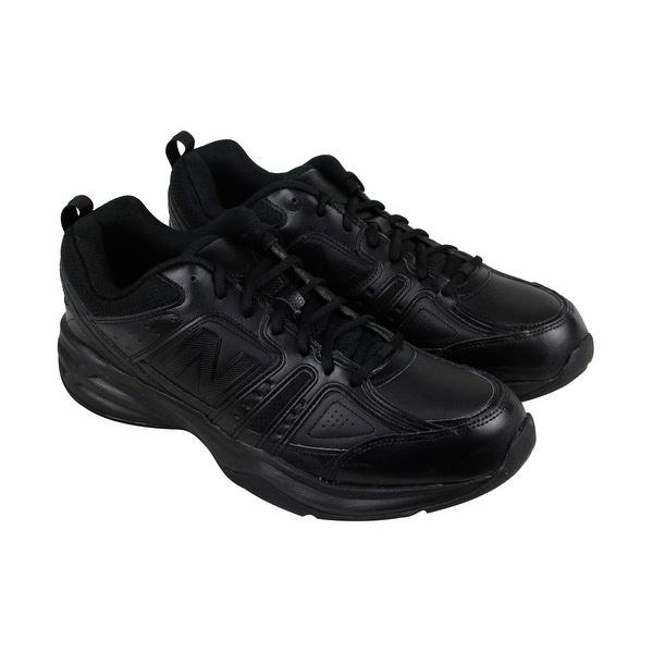 New Balance Mx409 Mens Black Leather Athletic Lace Up Training Shoes