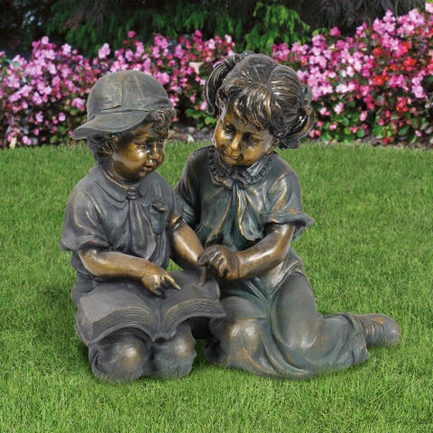 Alpine Corporation Girl and Boy Reading Outdoor Statue Set, 26-Inches