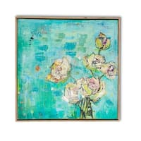 """32.13"""" Green and Blue Decorative Canvas Bouquet Square Framed Art"""