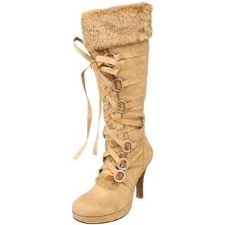Funtasma Womens Hunter Knee-High Boots Man Made Lace Front - 7 medium (b,m)