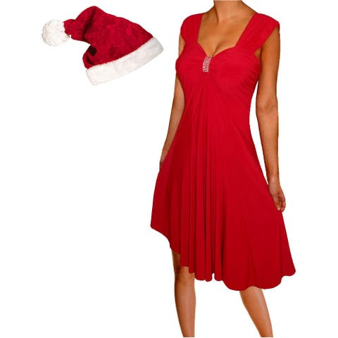 Funfash Plus Size Women Red Holiday Season Christmas Santa Hat Dress