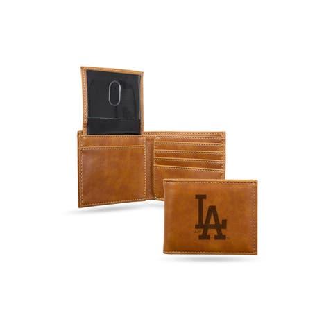 """4"""" Brown MLB Los Angeles Dodgers Laser Engraved Billfold Wallet"""