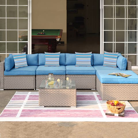 COSIEST 6-Piece Outdoor Wicker Furniture Set With Cushions, Glass Coffee Table