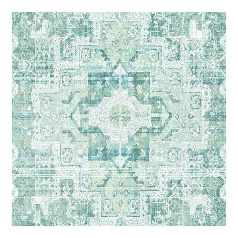 Desmond Turquoise Distressed Medallion Wallpaper - 20.5 x 396 x 0.025