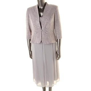 Alex Evenings Womens 2PC Glitter Dress With Jacket