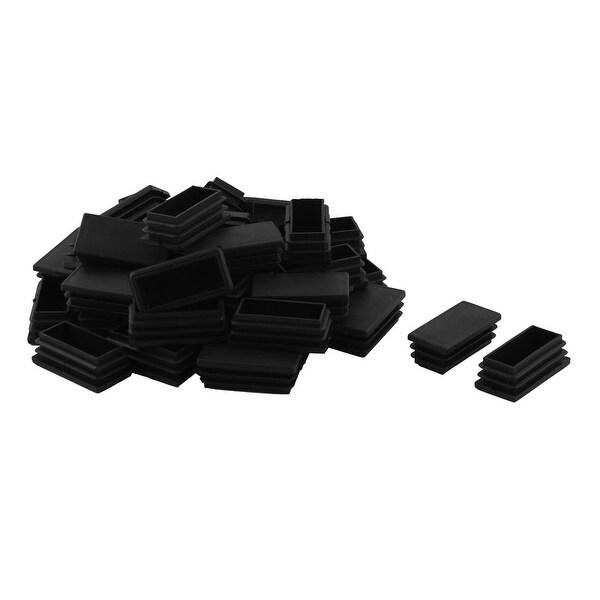 Plastic Rectangle Design Tube Insert End Cover Cap Black 25 x 50mm 40pcs