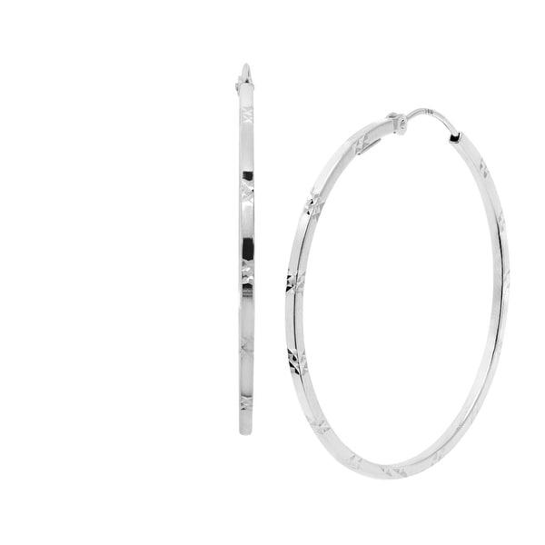 Just Gold Diamond-Cut Square Tube Hoop Earrings in 14K White Gold