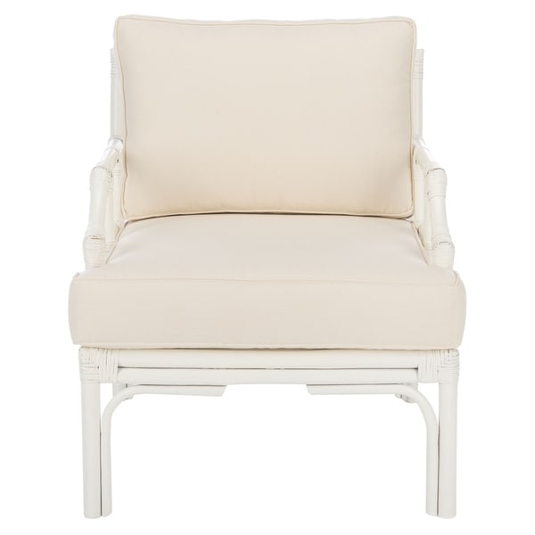 """Safavieh Kazumi Rattan Accent Chair with Cushion - 27.6"""" W x 31.5"""" L x 31.5"""" H. Opens flyout."""