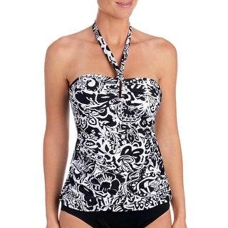 Chaps Women Swimwear Halter Tankini Top Paisley Floral Black/White12 - BLACK/WHITE - 12