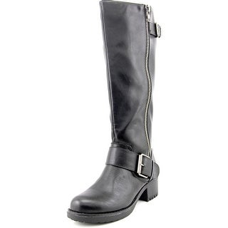 Mia Peterson Wide Calf Women Round Toe Synthetic Black Knee High Boot