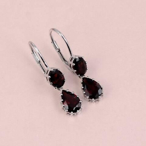 Topaz, Citrine,Garnet Sterling Silver Oval, Pear Dangle Earrings by Orchid Jewelry