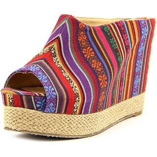 Chinese Laundry Keep Going Women Open Toe Canvas Wedge Heel