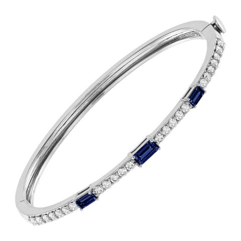 """Created Blue & White Sapphire Bangle Bracelet in Sterling Silver, 7"""""""