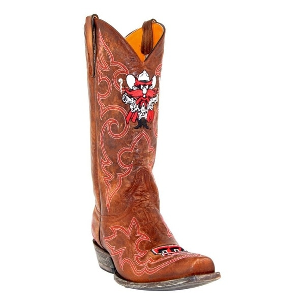 Gameday Boots Men Texas Tech Embroidered Square Toe Leather