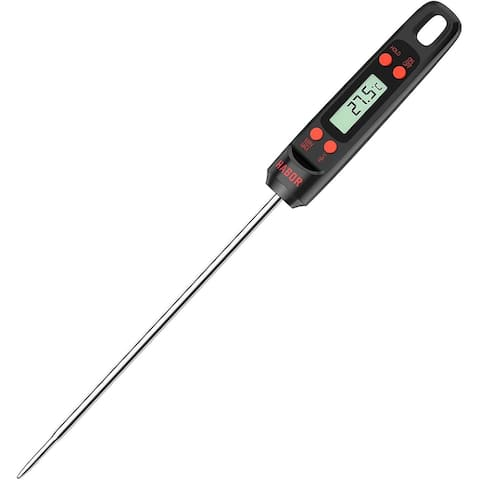 Homitt Digital Cooking Thermometer, Instant Read Kitchen, 5.5'' Long Probe, Hanging Hole, Auto-Off,for Food, BBQ, Grill, Black