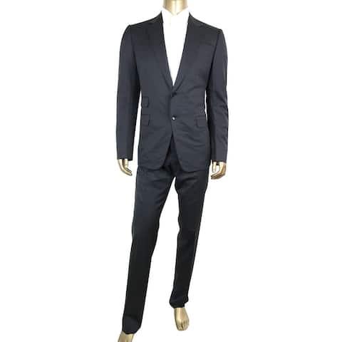 Gucci Men's Guccissima Lining Dark Blue Wool Signoria 2 Button Suit 221536 4140