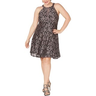 NW Nightway Womens Plus Cocktail Dress Lace Glitter - Black/Taupe