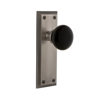 """Grandeur FAVCOV_PSG_234  Fifth Avenue Solid Brass Rose Passage Door Knob Set with Coventry Knob and 2-3/4"""" Backset"""