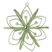 "4.5"" Good Tidings Pastel Green Jeweled and Faux Pearl Snowflake Christmas Ornament"