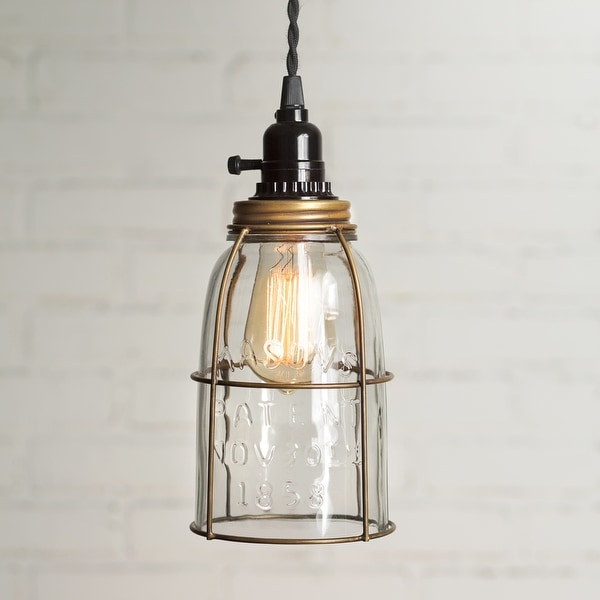 Half Gallon Caged Mason Jar Pendant Lamp - Antique Brass