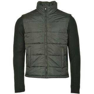 Bloomingdales Puffer Jacket Large 44 Dark Olive Green Wool Knit Sleeves Italy