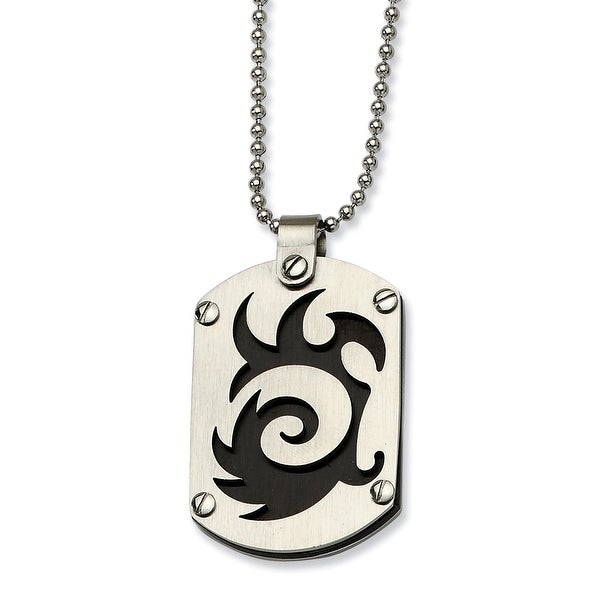 Chisel Stainless Steel Satin & Black Plated Swirl Dogtag Pendant 24 Inch Necklace (1 mm) - 24 in