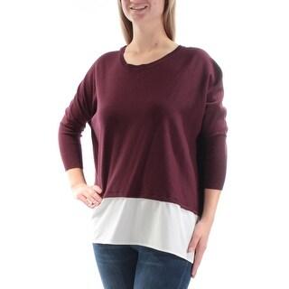 Womens Purple 3/4 Sleeve Jewel Neck Casual Top Size M