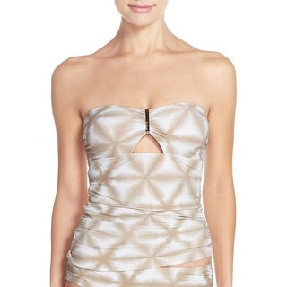 Michael Kors Womens Swimsuit Tankini Top X-Small XS Sand Beige Luna Printed