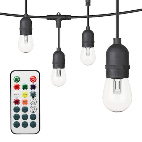 OVE Decors 48 ft. S14 II RGB String Lights Black and Remote Control