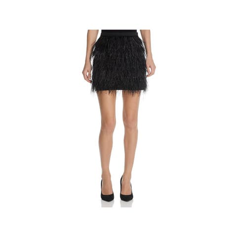 Lucy Paris Womens A-Line Skirt Tiered Feather