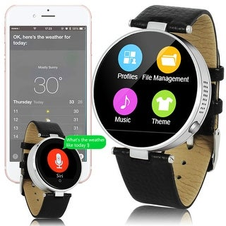 UpScale Leather SmartWatch (iPhone & Android Compatible) - Push Notification - SIRI - Built-In Heart Rate - Pedometer