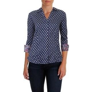Foxcroft Womens Button-Down Top Polka Dot Three-Quarter Sleeves