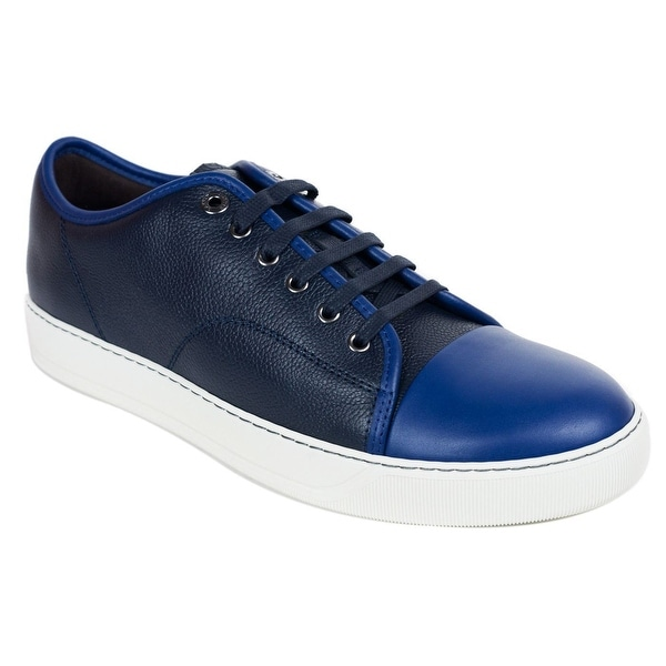 Mens Lanvin Blue Grained Calfskin Two Tone Low Top Sneakers
